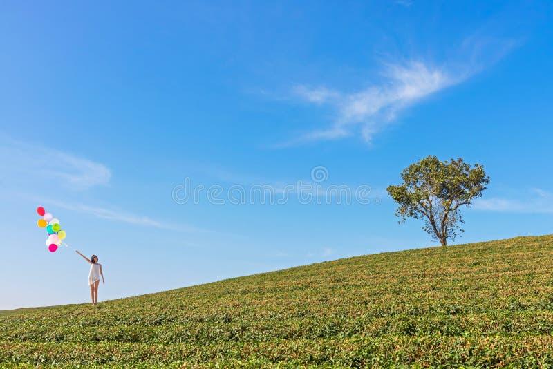 Lächelnde glückliche asiatische Frau entspannen sich und Freiheit mit bunten Ballonen auf dem Gebiet auf Hintergrund des blauen H lizenzfreies stockbild