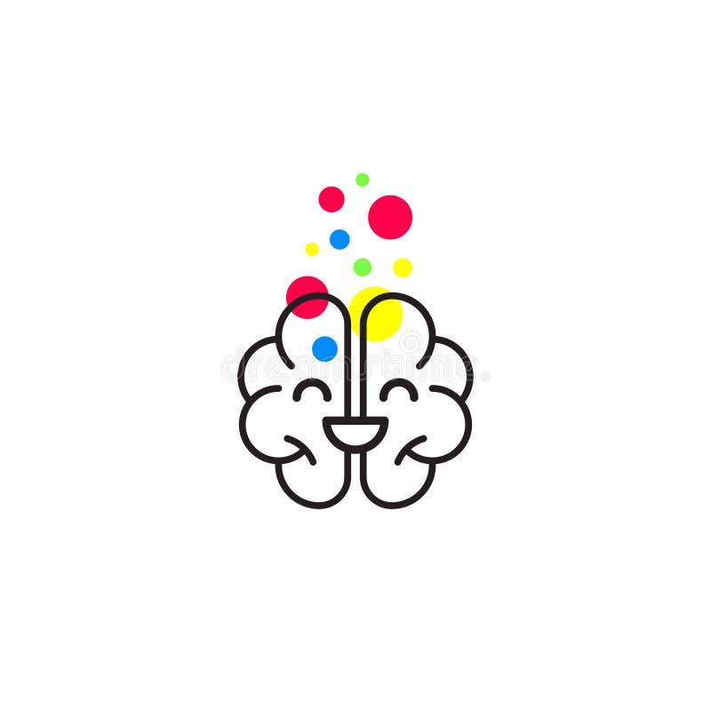Lächelnde glückliche Gehirnikone stock abbildung