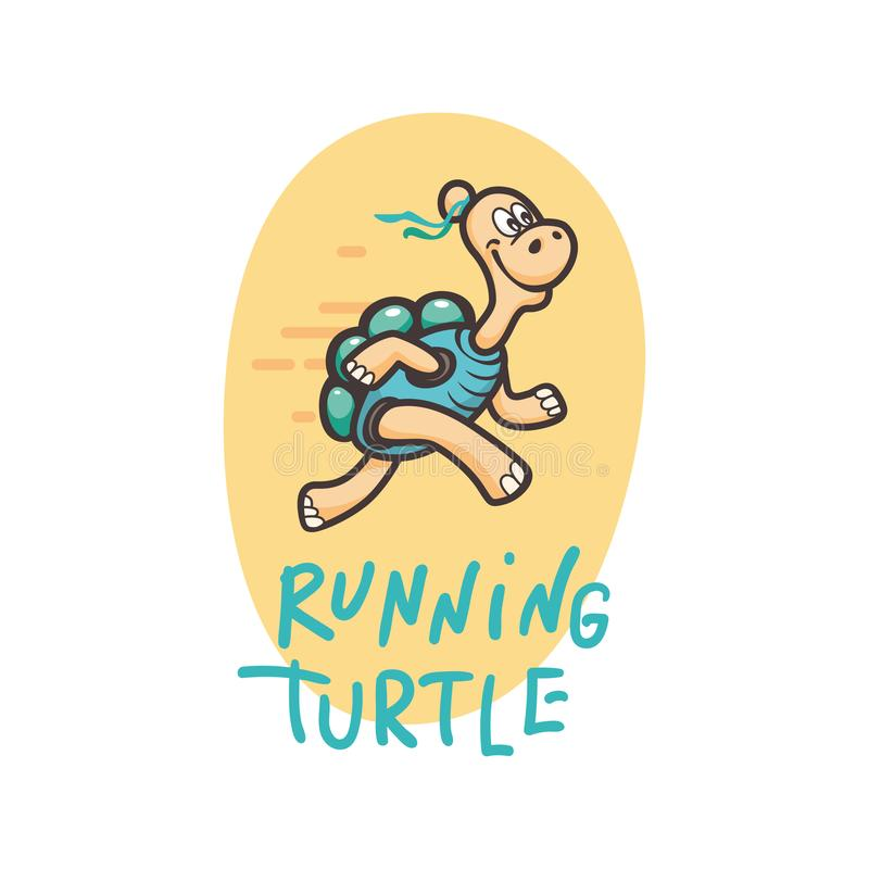 Lächelnde glückliche Schildkröten-Ikone Logo Set in der Karikatur-Art stock abbildung