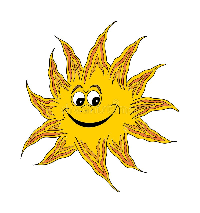 Lächelnde glückliche Sonne vektor abbildung