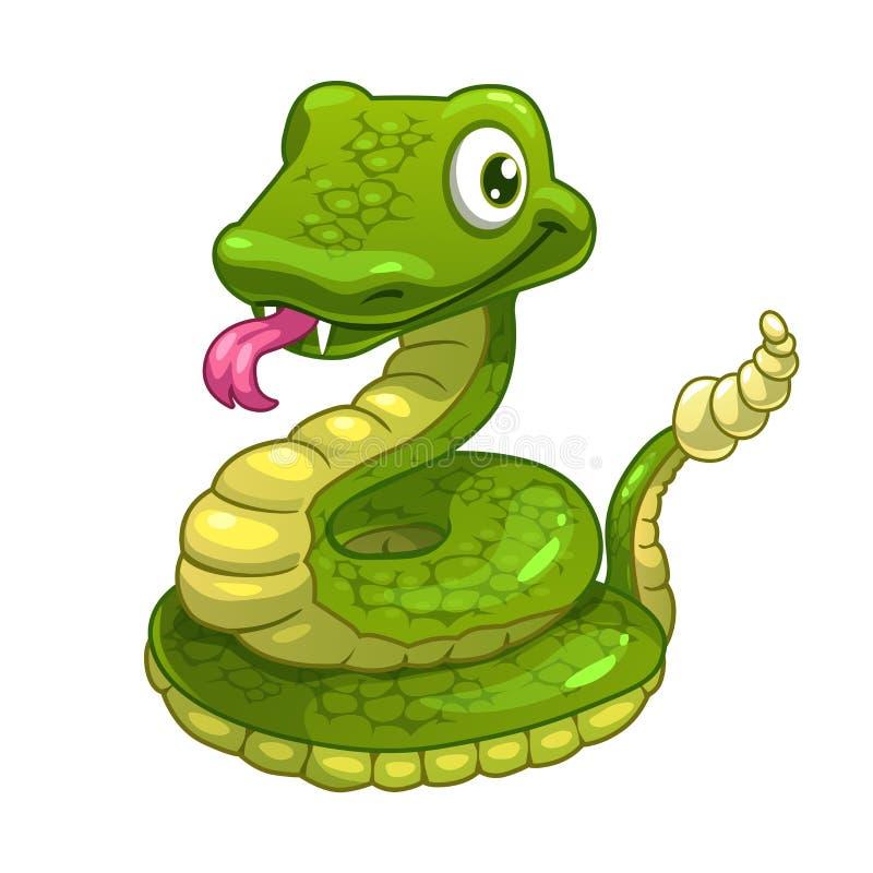 Lächelnde grüne Schlange der lustigen Karikatur lizenzfreie abbildung