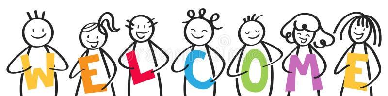 Lächelnde Gruppe Stockzahlen, die bunte Buchstaben, Männer und Frauen, WILLKOMMEN halten stock abbildung