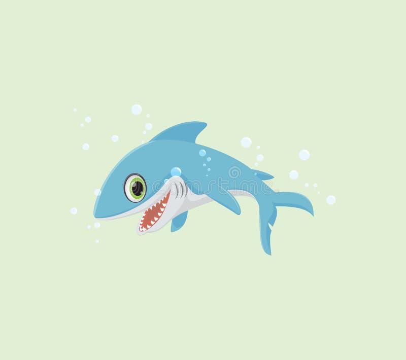 Lächelnde Haifischkarikatur lizenzfreie abbildung