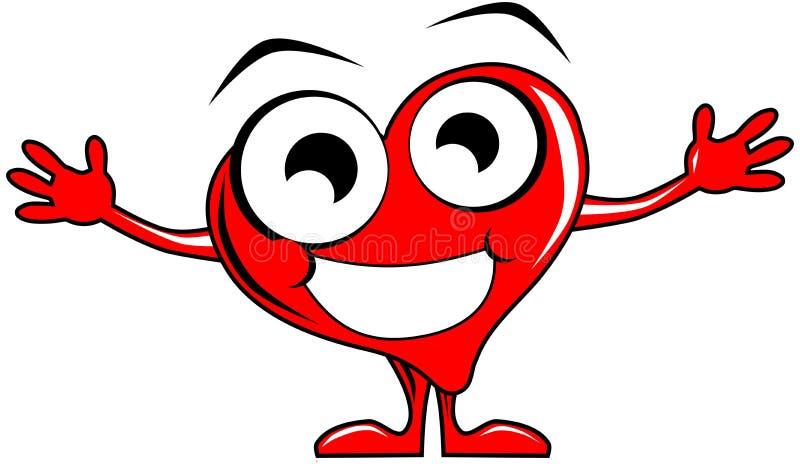 Lächelnde Herzkarikatur mit den offenen Armen stock abbildung