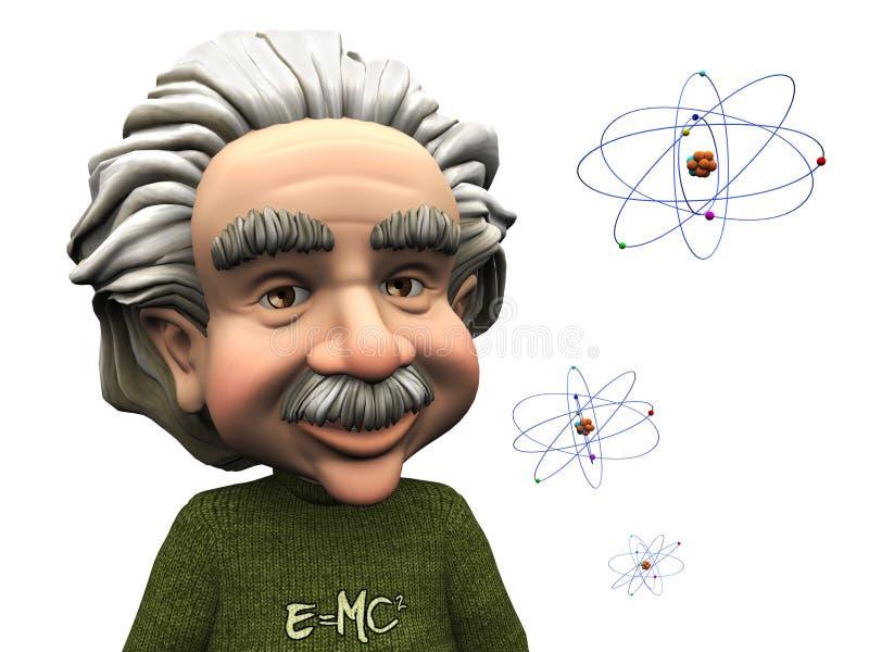 Lächelnde Karikatur Einstein mit Atomen. stock abbildung