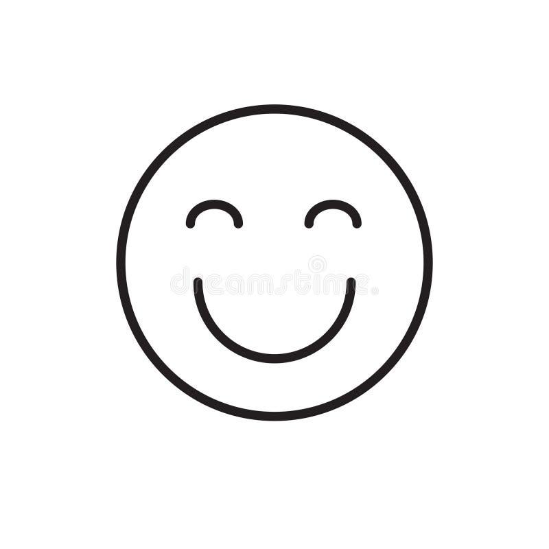 Lächelnde Karikatur-Gesichts-geschlossene Augen-positive Leute-Gefühl-Ikone lizenzfreie abbildung