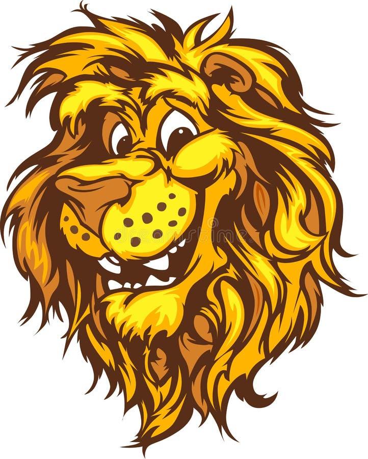 Lächelnde Karikatur-Löwe-Maskottchen-Grafik stock abbildung