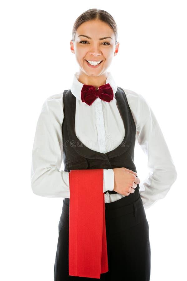 Lächelnde Kellnerin stockbilder