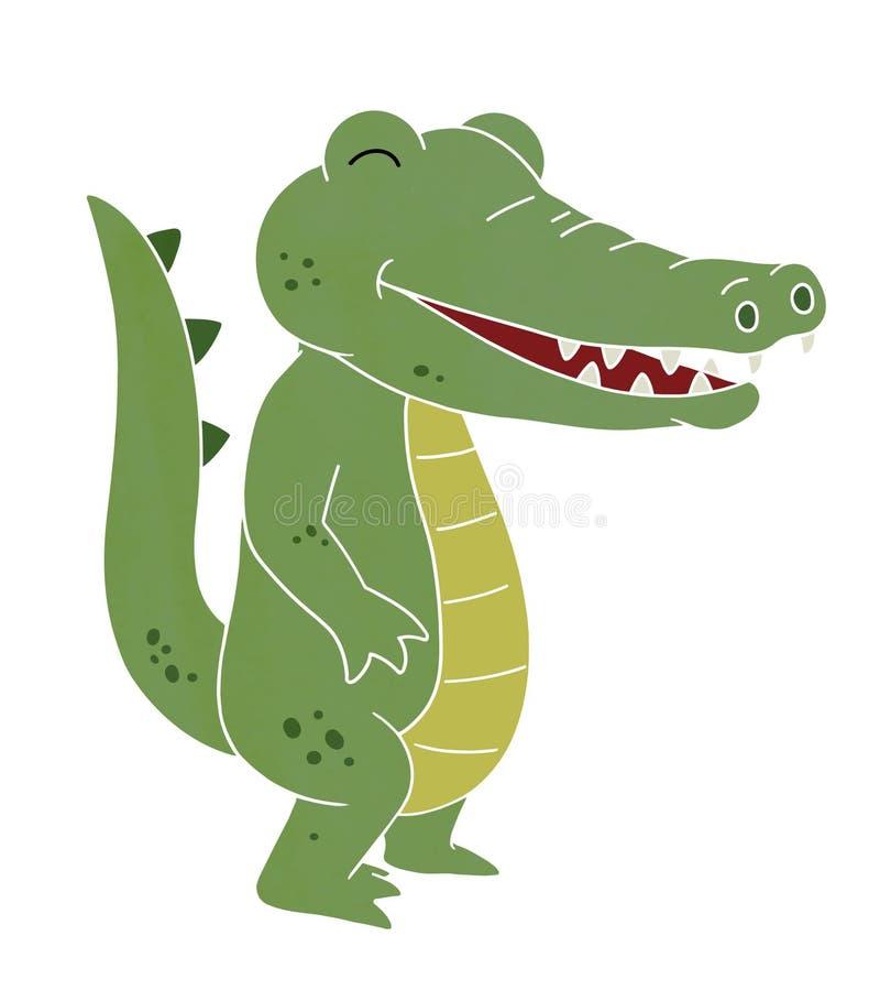 lächelnde Krokodilkarikatur stockfotos