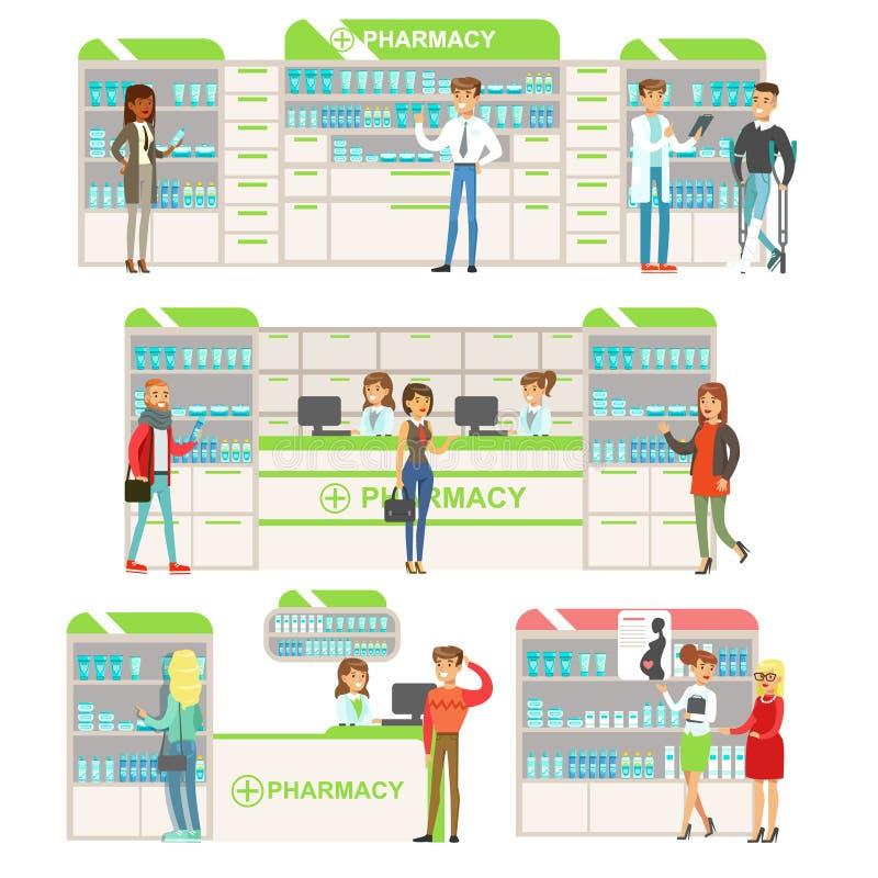 Lächelnde Leute in Apotheken-wählender und kaufender Drogen-und Kosmetik-Sammlung Drugstore-Szenen mit Apothekern und vektor abbildung