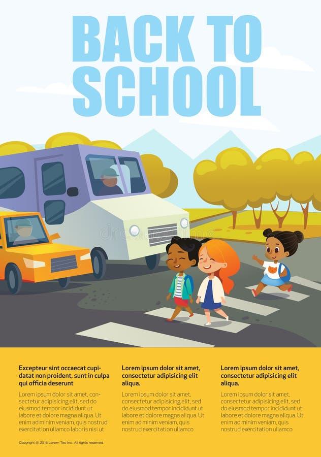 Lächelnde Mädchen der Karikatur, die Straße entlang Zebrastreifen vor gestopptem Bus und Auto kreuzen Verkehrssicherheitsbildung  lizenzfreie abbildung