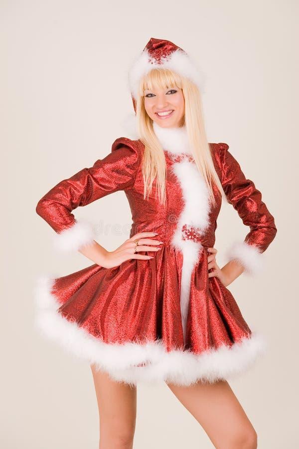 Lächelnde Mrs Weihnachtsmann lizenzfreie stockbilder