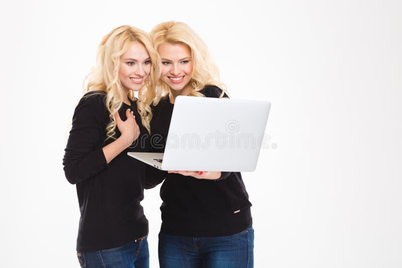 Lächelnde Schwesterzwillinge unter Verwendung der Laptopberechnung stockfotos