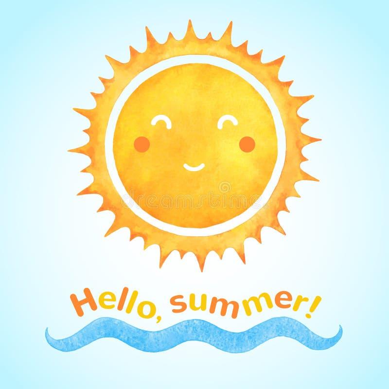 Lächelnde Sonne des Aquarellvektors mit Seewelle lizenzfreie abbildung