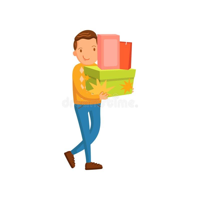 Lächelnde tragende Einkaufstaschen des Mannes und Geschenke, männliches Einkaufen in einer Mallkarikatur-Vektor Illustration lizenzfreie abbildung