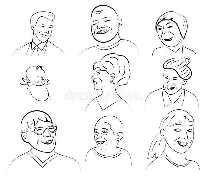 Lächelnde und lachende Gesichter, Vektor-Illustration vektor abbildung