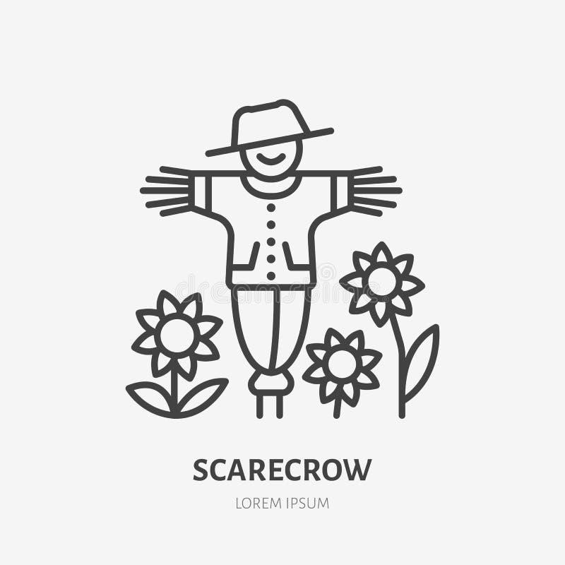 Lächelnde Vogelscheuche mit flacher Linie Ikone der Sonnenblumen Verdünnen Sie lineares Logo für Bauernhof, Speicher des biologis stock abbildung