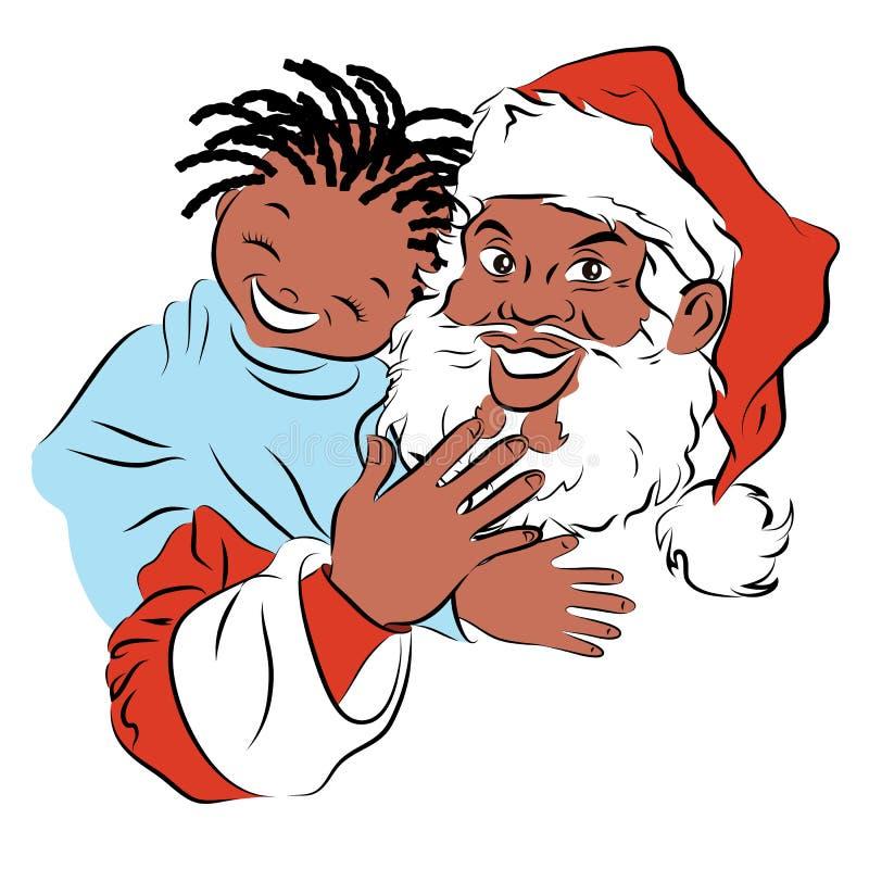 Lächelnder Afrikaner Santa Claus mit einem lachenden afrikanischen Mädchen lizenzfreie abbildung
