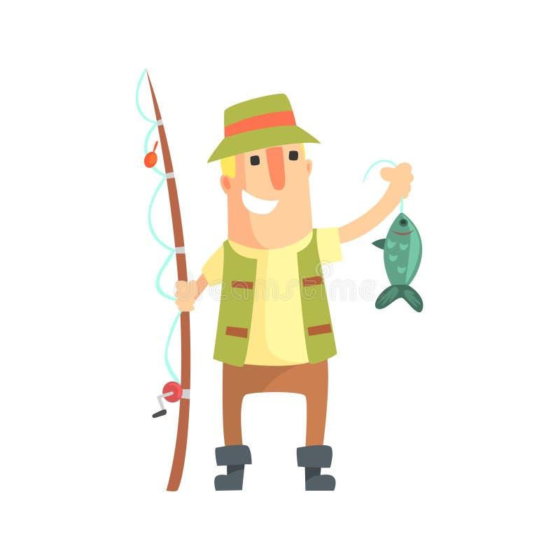 Lächelnder Amateurfischer In Khaki Clothes, das einen Fisch fing er hält, Karikatur-Vektor-Charakter und seine Hobby-Illustration lizenzfreie abbildung