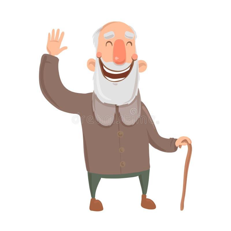 Lächelnder bärtiger alter Mann mit Stock bewegt Hand wellenartig Glücklicher grau-haariger älterer Mann grüßt Sie Zeichentrickfil vektor abbildung