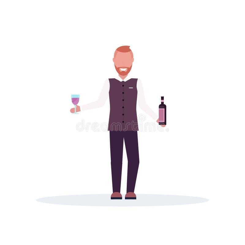 Lächelnder Barmixer, der voll Weinflasche und Glaskellner in der Uniform Zeichentrickfilm-Figur-Stellungshaltung der Arbeit an de lizenzfreie abbildung