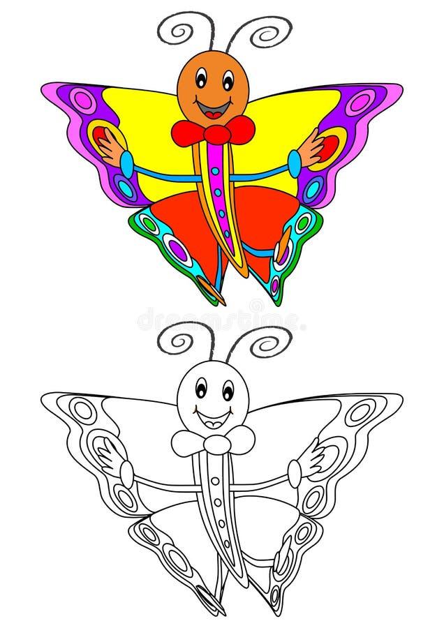 Lächelnder bunter Schmetterling als Malbuch für Kinder stock abbildung