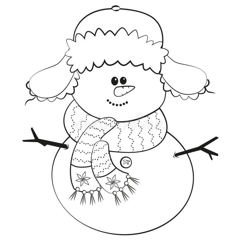 Lächelnder einfacher Schneemann mit Schutzkappe lizenzfreie abbildung