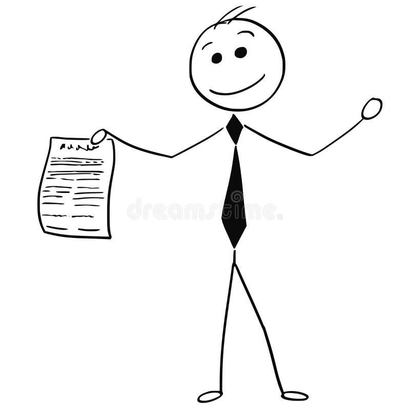 Lächelnder Geschäftsmann Holding Piece Sheet der Papiervereinbarung stock abbildung