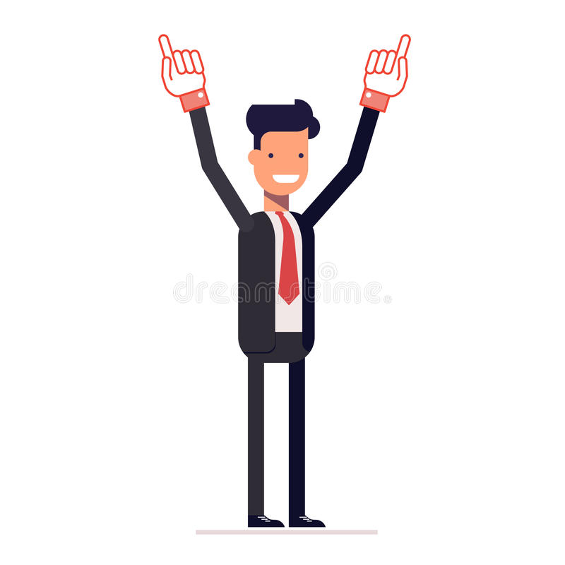 Lächelnder Geschäftsmann oder Manager zeigt sich zwei Hände Erfolgreicher Mann in einem Anzug Vektor, Illustration EPS10 vektor abbildung