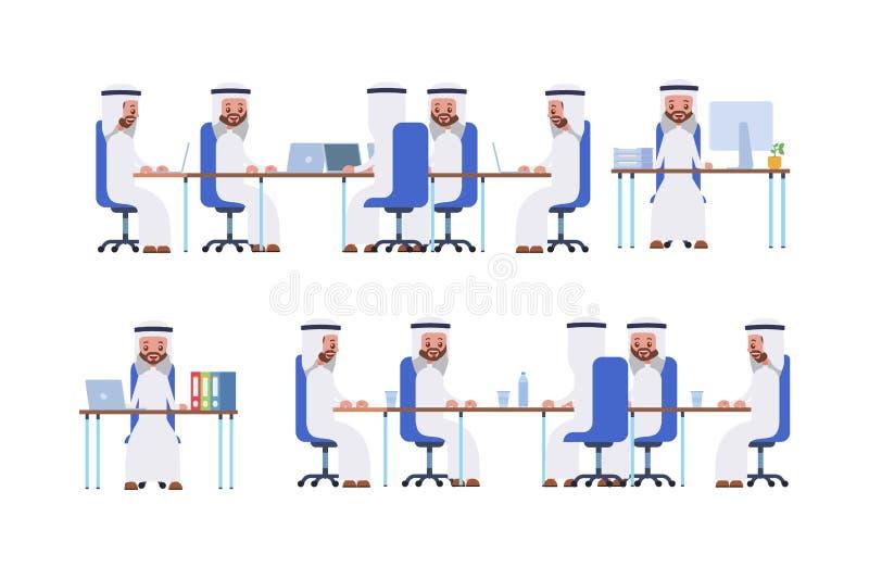Lächelnder Geschäftsmann unter Verwendung des Laptop cmputer am Schreibtisch und Unterhaltung mit einer Frau posieren Sie beim Si lizenzfreie abbildung
