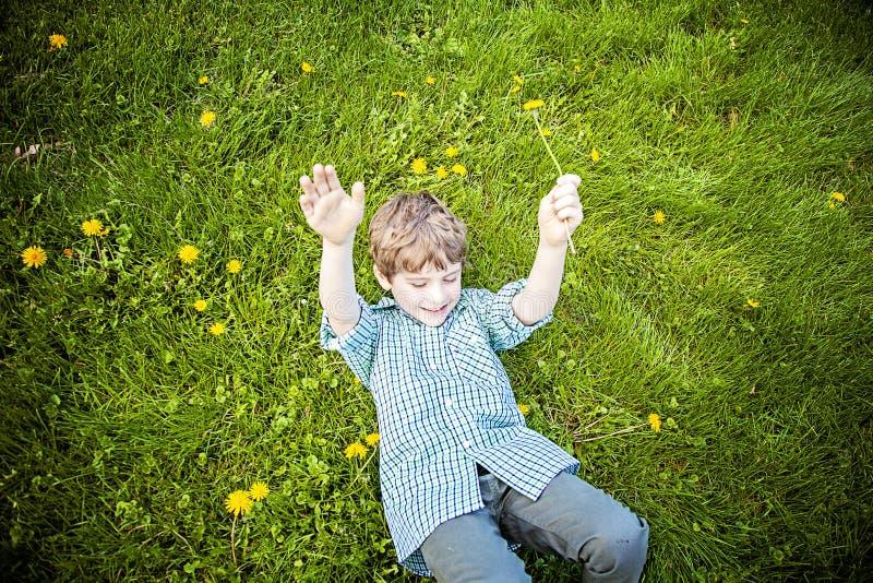 Lächelnder glücklicher Junge, der in Gras außerhalb der Ernte von Blumen legt lizenzfreies stockfoto