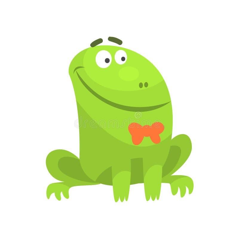 Lächelnder grüner Frosch-lustiger Charakter mit Fliegen-kindischer Karikatur-Illustration stock abbildung
