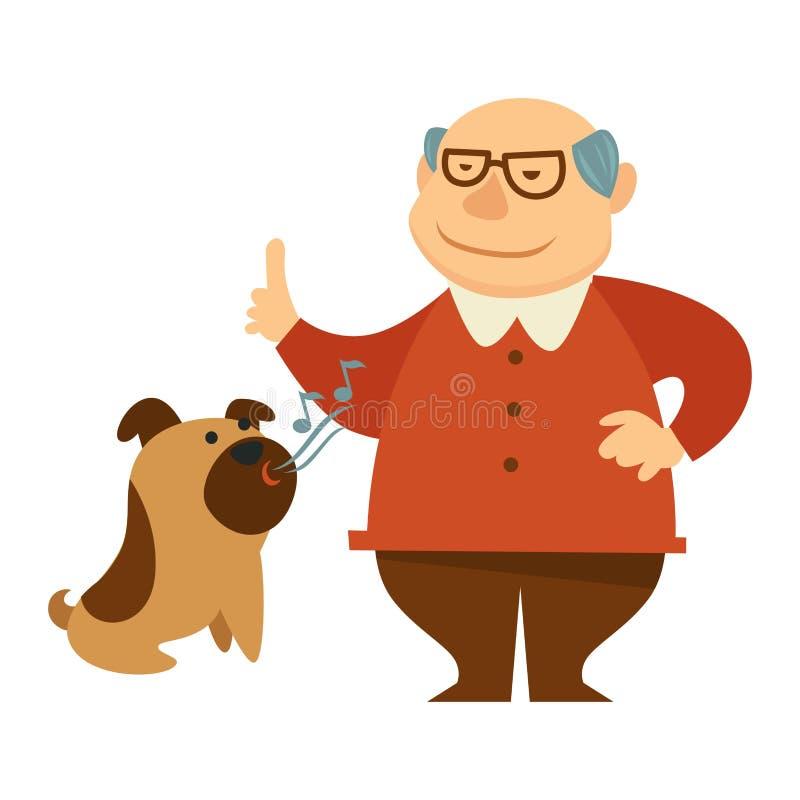Lächelnder Großvater, der einen Befehl gibt, für seinen Hund zu bellen lizenzfreie abbildung