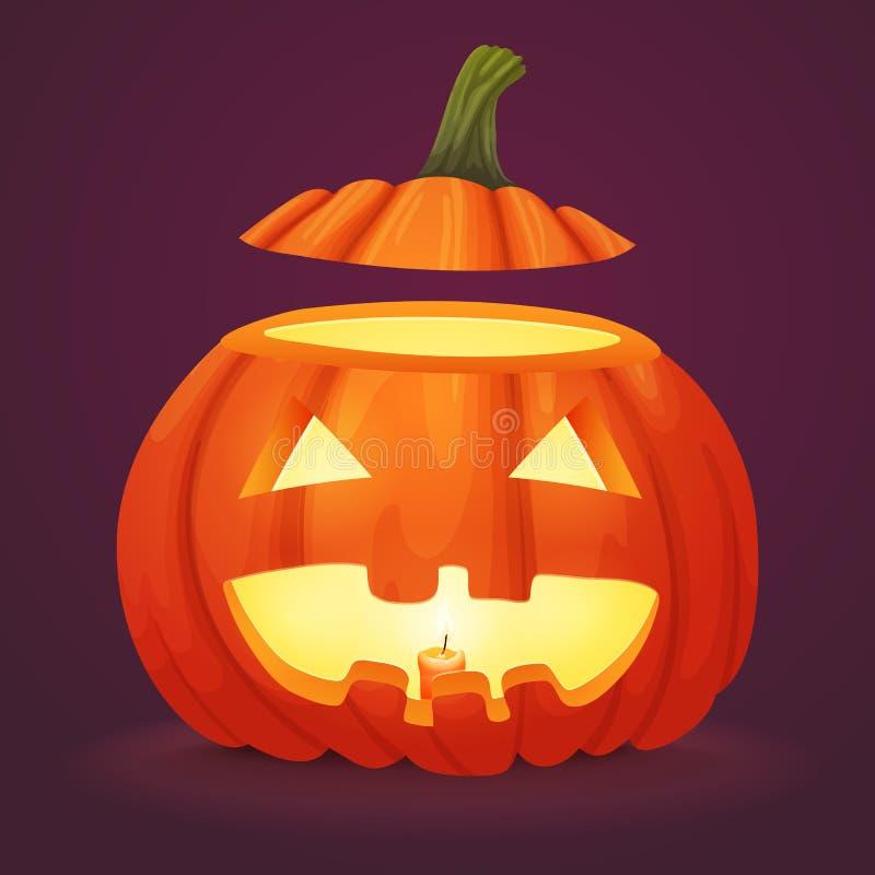 Lächelnder Halloween-Kürbis mit Spitzen abgeschnitten belichtet vom Innere vektor abbildung