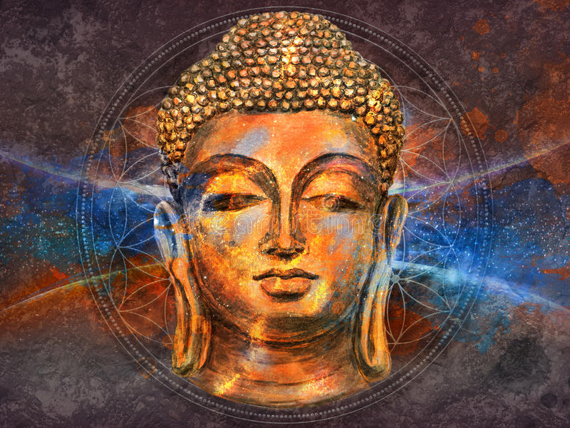 Lächelnder Hauptbuddha stock abbildung