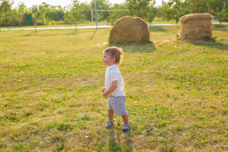 Lächelnder Junge auf dem Gebiet am sonnigen Sommermorgen Junge im weißen Hemd Die Familie reist, Kind lief glücklich um lizenzfreies stockfoto
