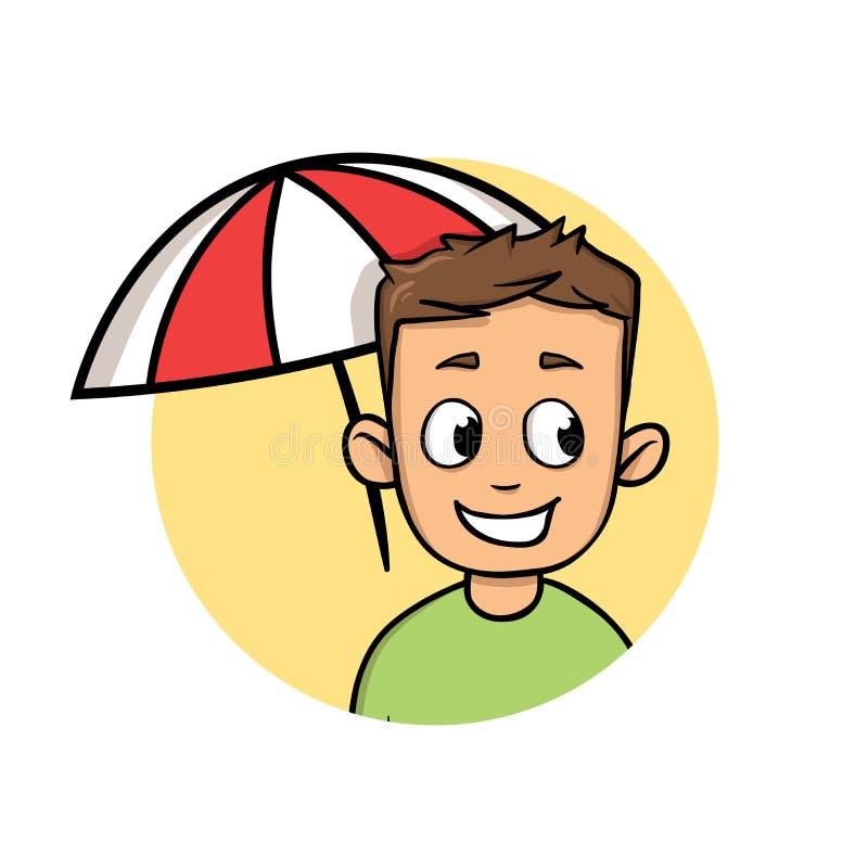 Lächelnder Junge, der von der Sonne unter Strandschirm sich versteckt Ein Sonnenbad nehmen und Schutz Flache Designikone Bunter f lizenzfreie abbildung