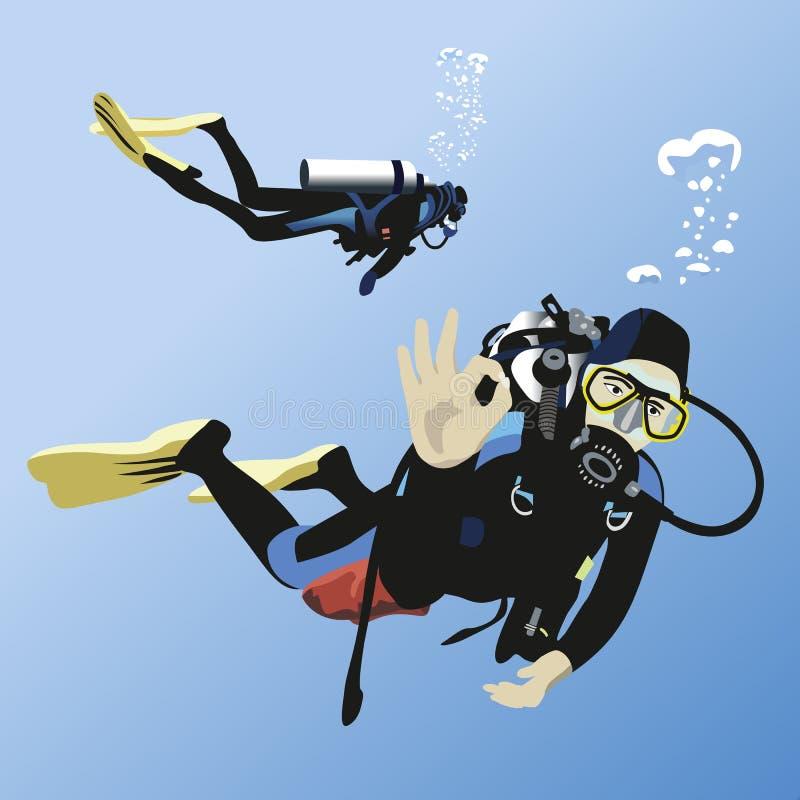Lächelnder Junge mit Schablone und Unterwasseratemgerät lizenzfreie abbildung