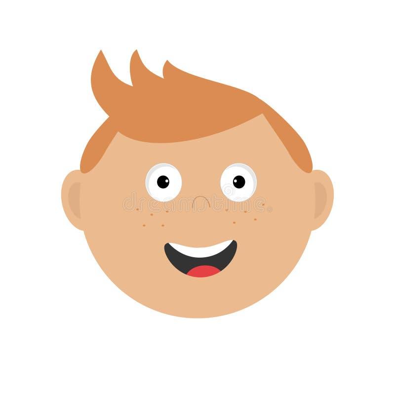 Lächelnder Jungen-Kopf Nette Zeichentrickfilm-Figur mit dem roten Haar und den Sommersprossen Babygefühlsammlung Glückliches Gesi lizenzfreie abbildung