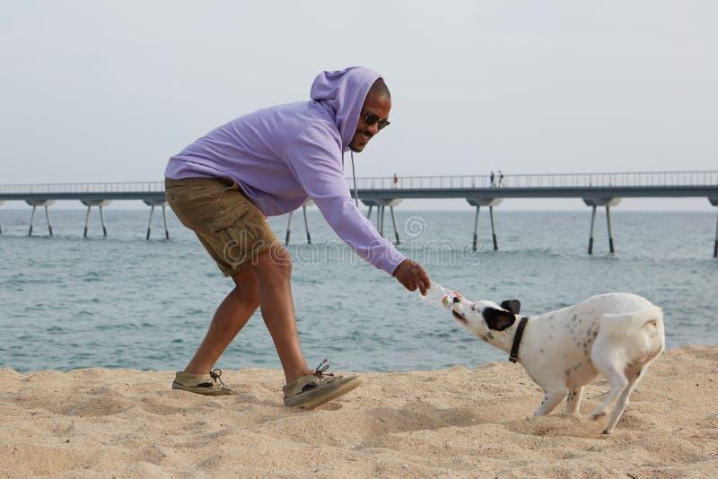Lächelnder junger afro-amerikanischer Mannhippie im Sportkapuzenpulli, der mit seinem Hund auf dem Strand am sonnigen Tag spielt lizenzfreies stockfoto