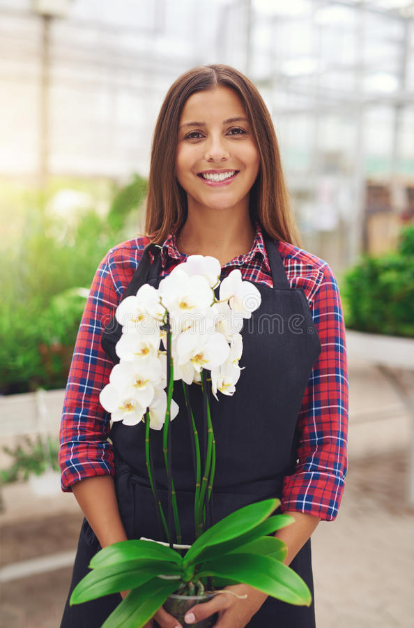 Lächelnder junger Florist, der eine Orchidee hält lizenzfreie stockbilder