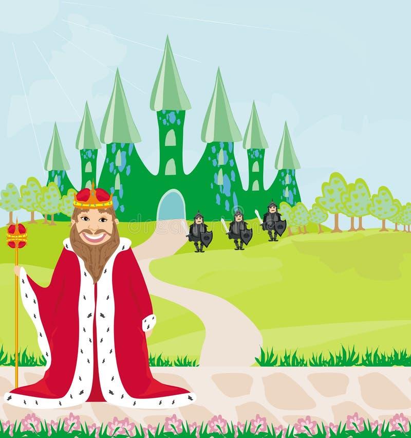Lächelnder König betrachtet das Schloss vektor abbildung