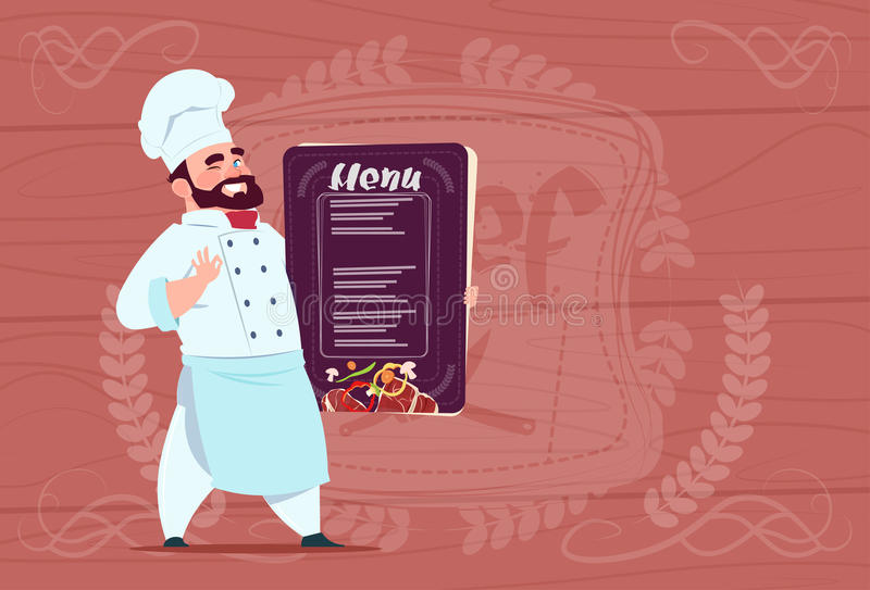 Lächelnder Karikatur-Leiter Chef-Koch-Holding Restaurant Menus in der weißen Uniform über hölzernem strukturiertem Hintergrund vektor abbildung