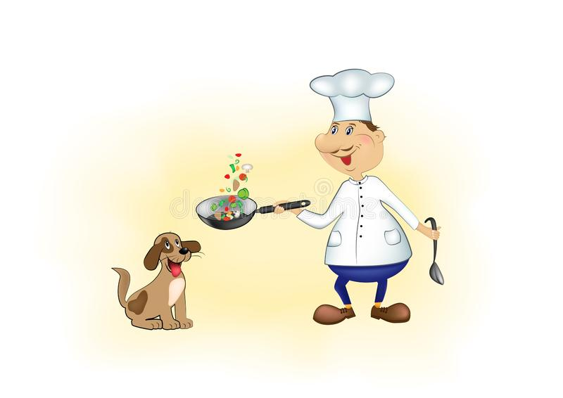 Lächelnder Karikaturchef und glücklicher Hund auf horizontaler Vektorillustration des gelben Hintergrundes stock abbildung