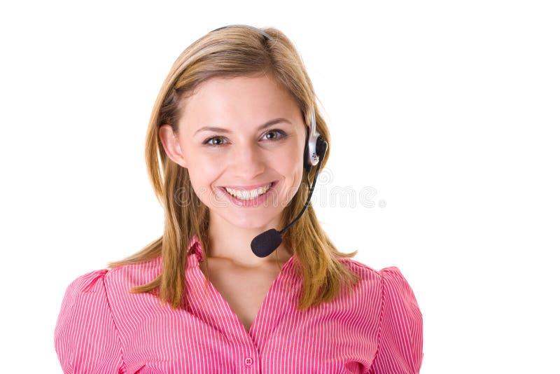 Lächelnder Kundendienstbediener, getrennt stockfoto