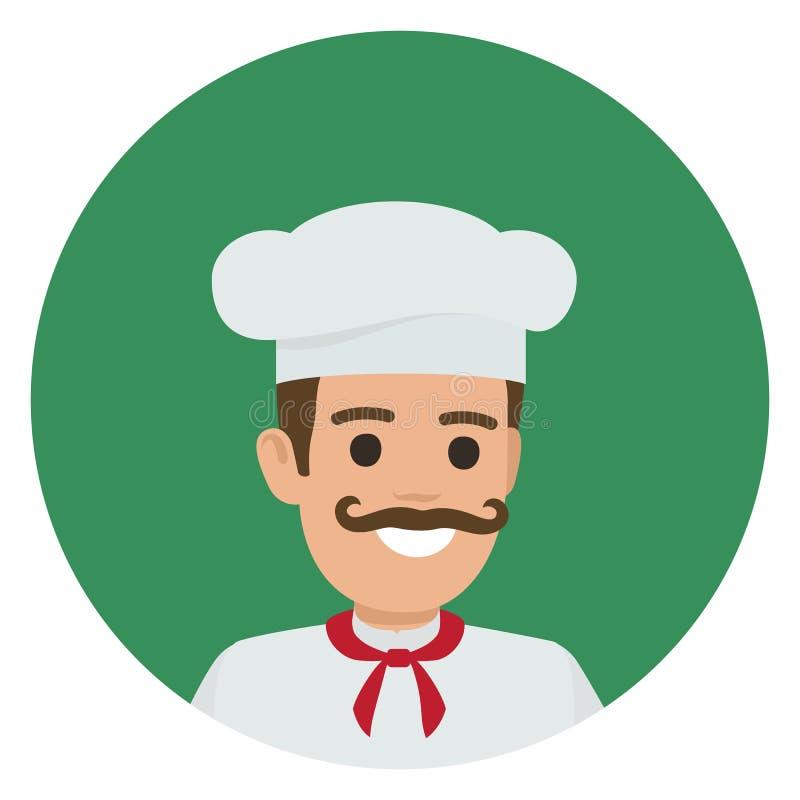 Lächelnder Leiter-Kocher Moustached im grünen Kreis stock abbildung