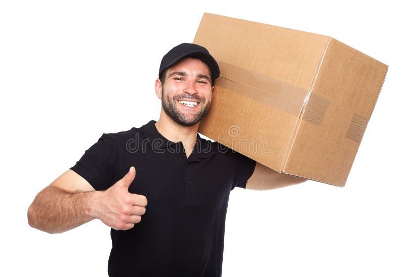 Lächelnder Lieferer, der cardbox gibt lizenzfreie stockbilder