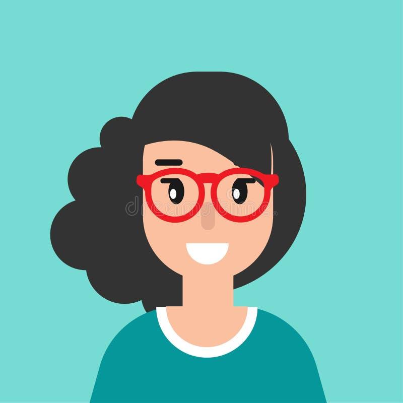 Lächelnder Mädchenavatara nette lächelnde Frau mit dem schwarzen Haar Flache Ikone auf blauem Hintergrund lizenzfreie abbildung