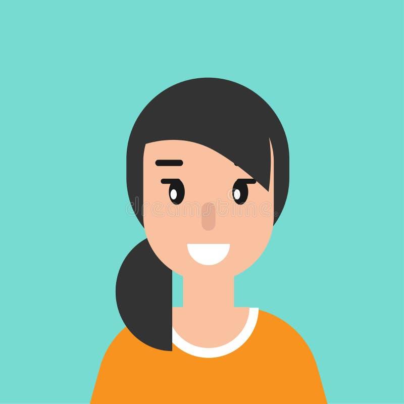 Lächelnder Mädchenavatara nette lächelnde Frau mit dem schwarzen Haar Flache Ikone auf blauem Hintergrund stock abbildung