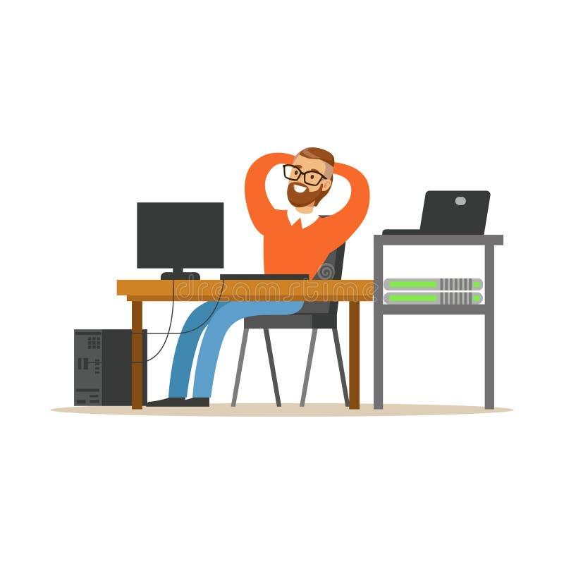 Lächelnder Mann, der an dem Computer im Büro, Netzingenieurverwalter arbeitet an seinem Arbeitsplatzvektor arbeitet lizenzfreie abbildung